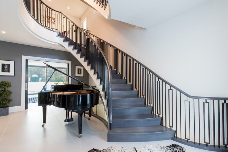 North London new build open plan spiral staircase by Aubrey Homes