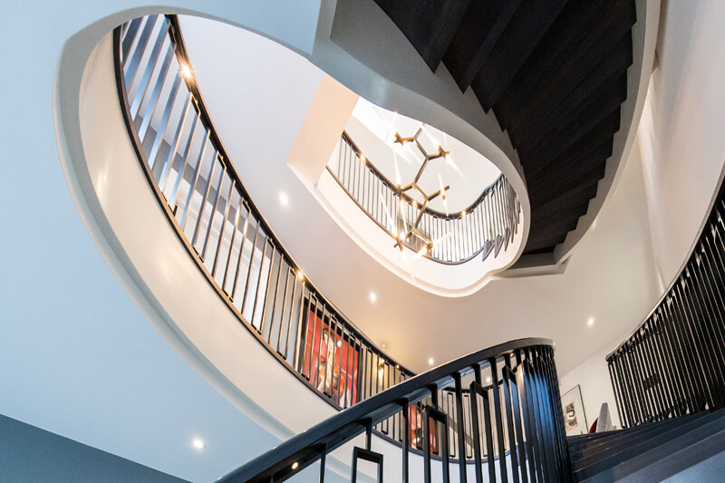 North London new build open plan build spiral staircase by Aubrey Homes
