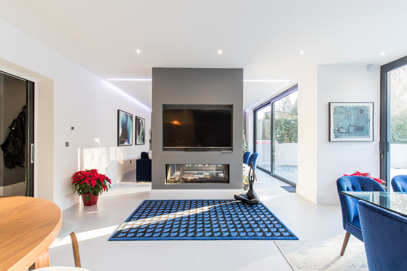 North London new build open plan fireplace by Aubrey Homes