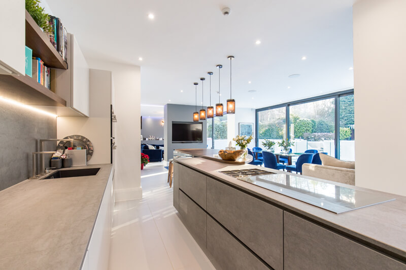 North London new build open plan build kitchen dining room by Aubrey Homes
