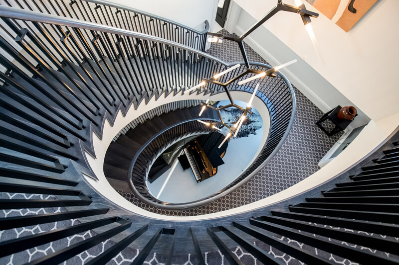 North London new build spiral staircase by Aubrey Homes