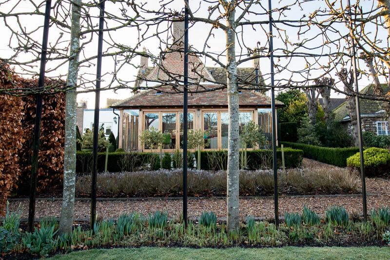 Oak framed extension Cambridgeshire by Aubrey Homes