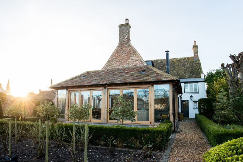 Oak framed extension exterior Cambridgeshire by Aubrey Homes
