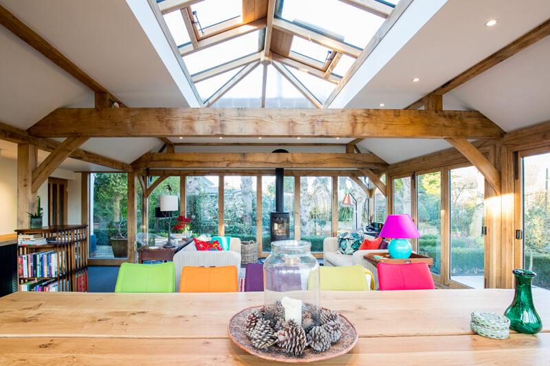 Oak framed extension interior Cambridgeshire by Aubrey Homes