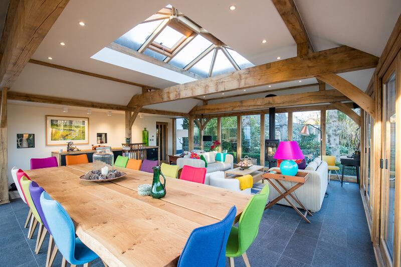 Oak framed extension lounge diner Cambridgeshire by Aubrey Homes