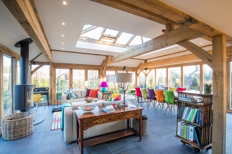 Oak framed extension interior Cambridgeshire by Aubrey Homes