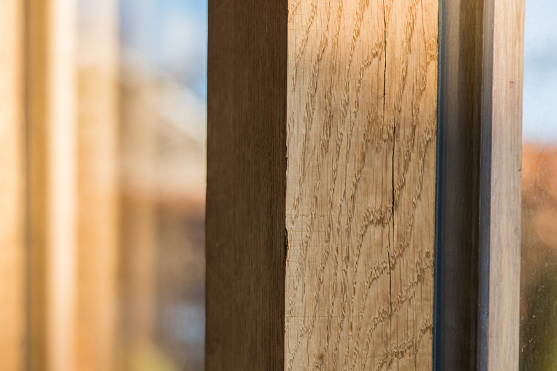 Oak framed extension beam detail Cambridgeshire by Aubrey Homes