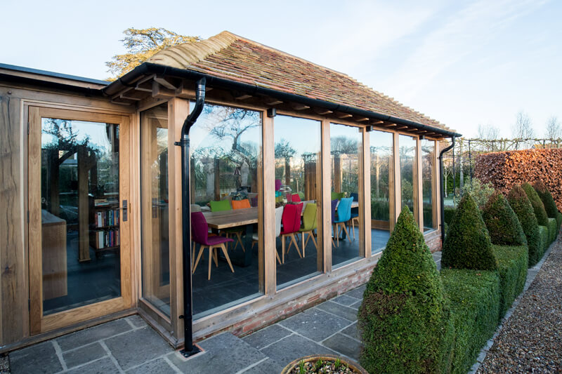 Oak framed extension Cambridgeshire by Aubrey Homes